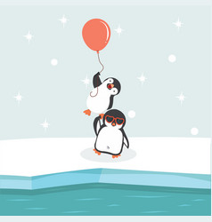 north pole arctic with penguins holding balloon vector image