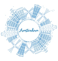 Outline Amsterdam city skyline vector
