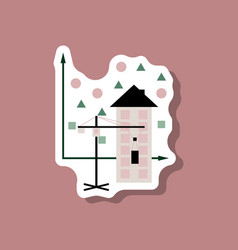 Paper sticker on stylish background construction vector