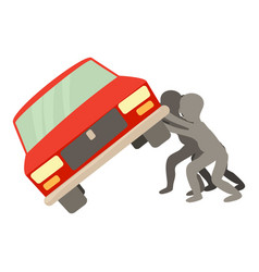 people overturned car icon cartoon style vector image
