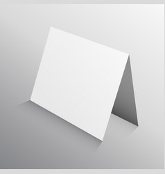 perspective folded paper card in 3d mockup vector image