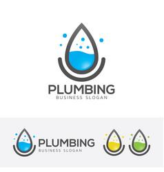 plumbing logo design vector image