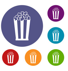 Popcorn in striped bucket icons set vector