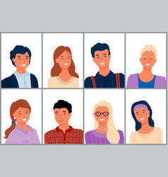 portraits people man and woman faces vector image