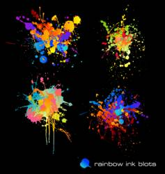 Rainbow ink blots vector