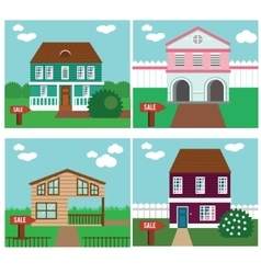 Real estate on sale house cottage townhouse vector