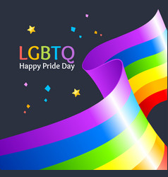 realistic detailed 3d lgbtq happy pride day card vector image