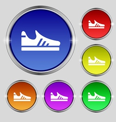 Running shoe icon sign Round symbol on bright vector image