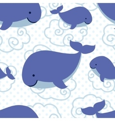 Seamless pattern with cute cartoon whales vector