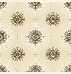 seamless vintage nautical compass rose pattern vector image