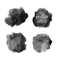 set abstract black ink blots vector image
