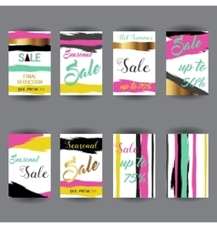 set abstract bright summer sale party vector image
