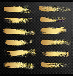 set gold paint ink brush strokes brushes vector image