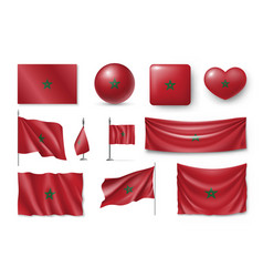 Set marocco flags banners banners symbols flat vector