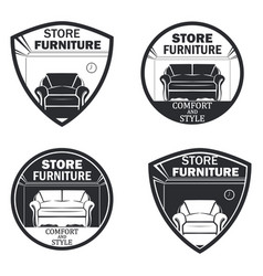 set of 4 furniture vector image
