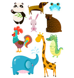set of different cute animals on white board vector image