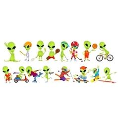 Set of green aliens sport vector