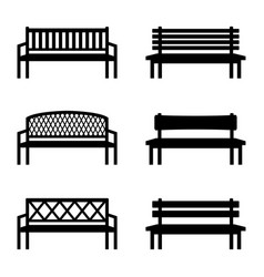 set of silhouettes of benches vector image