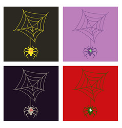 Set of spider and torn web scary spiderweb vector
