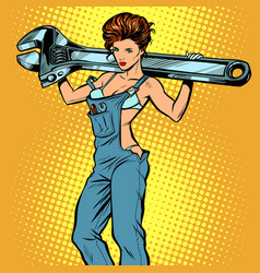 Sexy woman in work overalls with a wrench vector