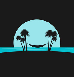 Silhouette of palms with a hammock on the beach vector