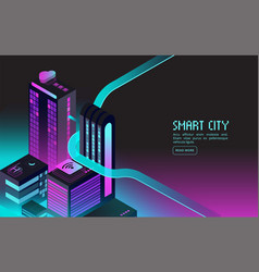 Smart building intelligent houses in night city vector