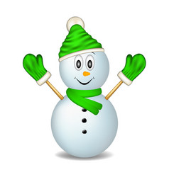 smiling snowman wearing mittens cap and scarf vector image
