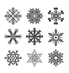 Snowflakes icon set collection shapes vector