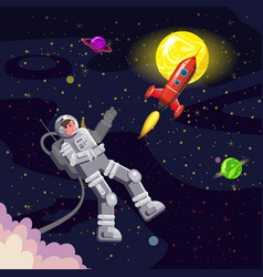Space card background with spaceman rocket ufo vector