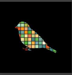 Sparrow bird mosaic color silhouette animal vector