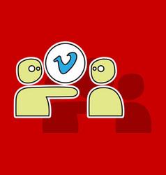 Sticker vimeo icon on background vector