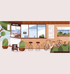 Street cafe kiosk exterior with menu board vector