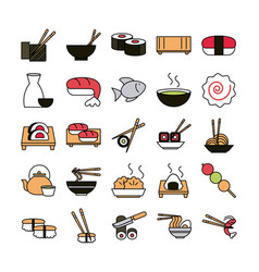 sushi oriental menu icons set line and fill style vector image