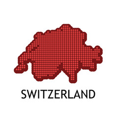 swiss contour map in color of national flag vector image