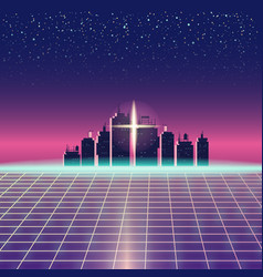 synthwave retro futuristic landscape with city vector image