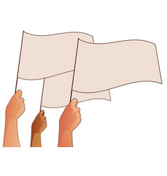 three human hands waving white flags isolated on vector image