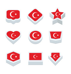 Tunisia flags icons and button set nine styles vector