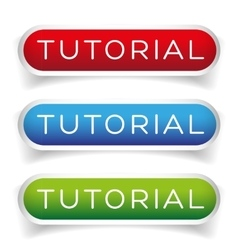 Tutorial button set vector
