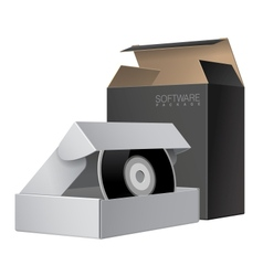Two Package Box Opened with DVD Or CD Disk vector image