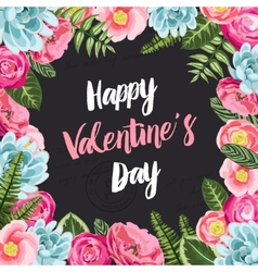 Valentines greeting card with painted flowers vector