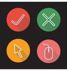 Website flat linear icons set vector
