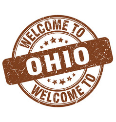 Welcome to ohio brown round vintage stamp vector