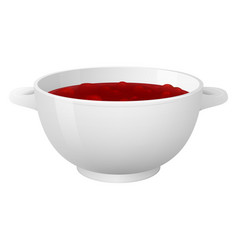 White bowl with delicios strawberry jam realistic vector