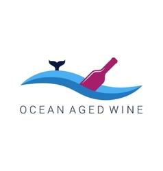 wine bottle wave design label vector image