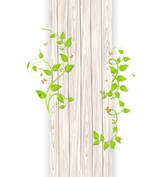 Wood fence with branches vector