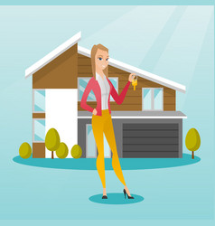 Young caucasian homeowner with key vector