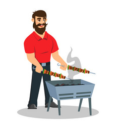young cheerful man cooking vegetables meat on vector image