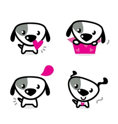 cute valentine dogs vector image