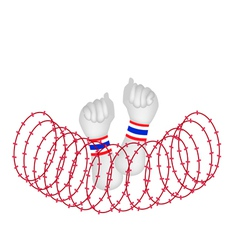 Human Hand Clenched Fist After Wire Barrier vector image vector image