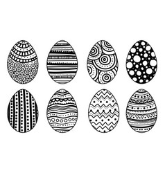 set of hand drawn easter eggs decorative elements vector image vector image